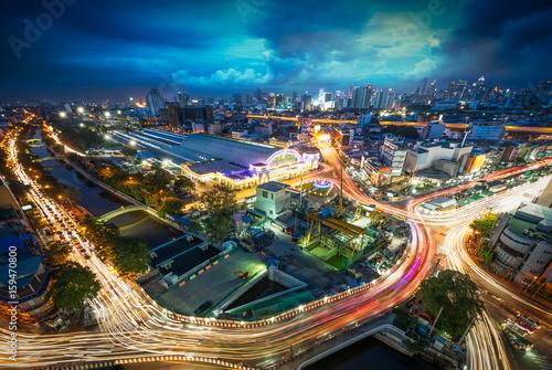 Aluminium Prints Industrial building Bangkok night scene cityscape