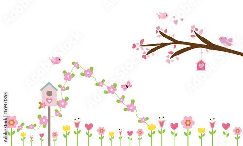 Flores Rosas Y Rama De Arbol Con Pajaritos Buy This Stock Vector