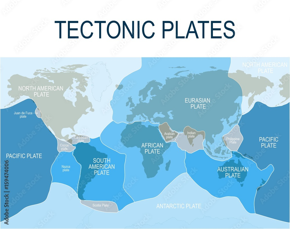 Fototapety, obrazy: Plate tectonics. Major (main) and minor plates.