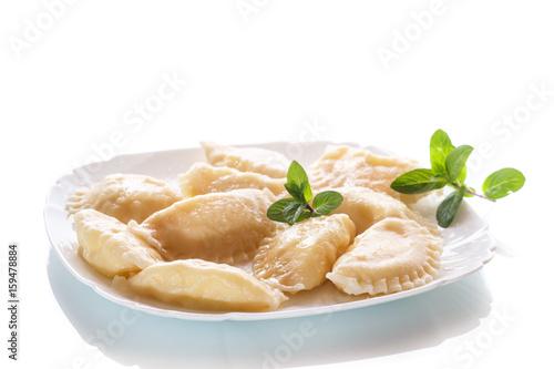 Plakat słodkie gotowane pierogi z serem