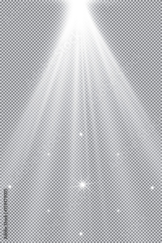 Fotografía  Set of golden glowing lights effects isolated on transparent background