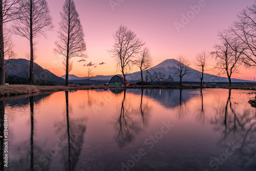 Canvas Prints Reflection Fumotoppara campground in the morning with Mt. Fuji