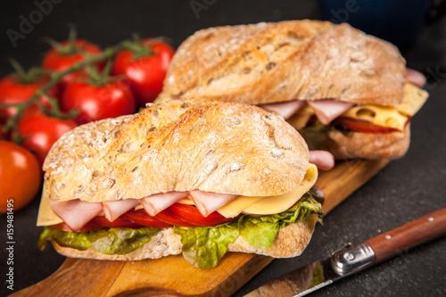 Staande foto Snack Delicious ciabatta sandwich