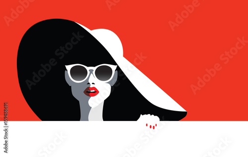 Beautiful young woman with sunglasses and hat, retro style. Pop art. Summer holiday.