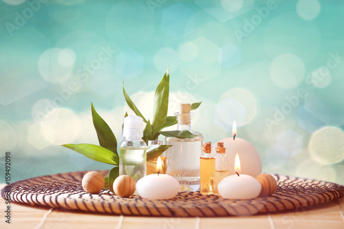 Fotografie, Obraz  Beautiful spa composition with candles on color background