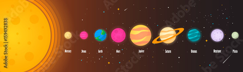 The solar system, the planet on the universe starry background. Vector illustration, modern cartoon style. EPS10