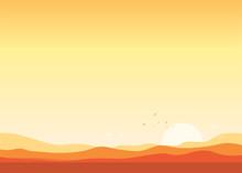 Desert Landscape Sunset Background Vector Illustration