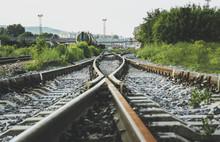 Two Railways Tracks Merge Close Up.