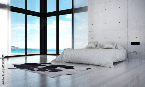 D rendering interior model of modern bedroom design and sea view