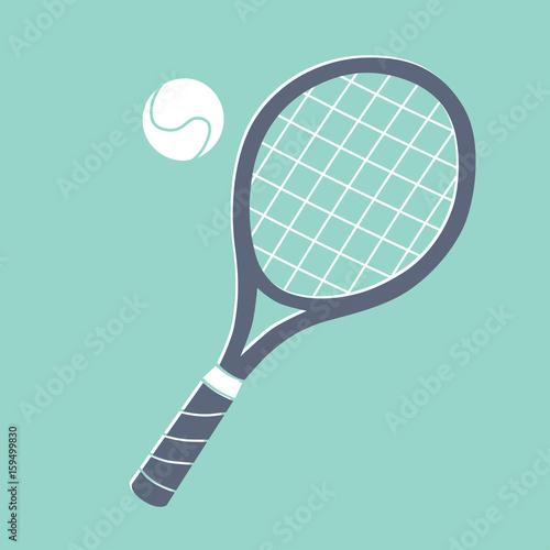 Obraz na plátně  Tennis racket and ball illustration.