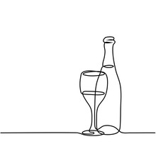Continuous Line Drawing. Wine ...