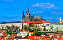 Mala Strana (Lesser Town Of Prague) And Prague Castle In Prague, Czech Republic