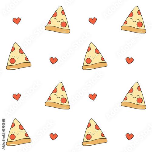 cute cartoon pizza seamless vector pattern background illustration