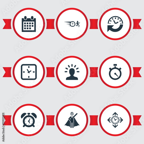 Vector Illustration Set Of Simple Time Icons Elements Clock Intellect Recurrence And Other