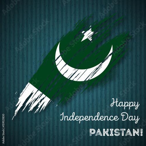 Pakistan Independence Day Patriotic Design  Expressive Brush Stroke