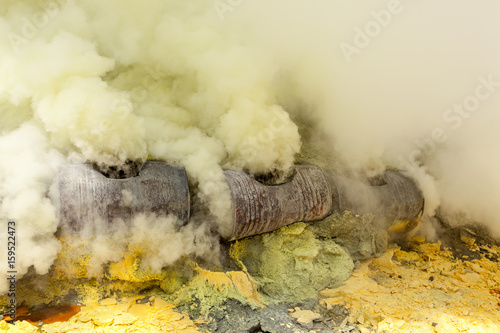 Fototapety, obrazy: Sulfuric gases at Ijen crater lake at Java island in Indonesia.