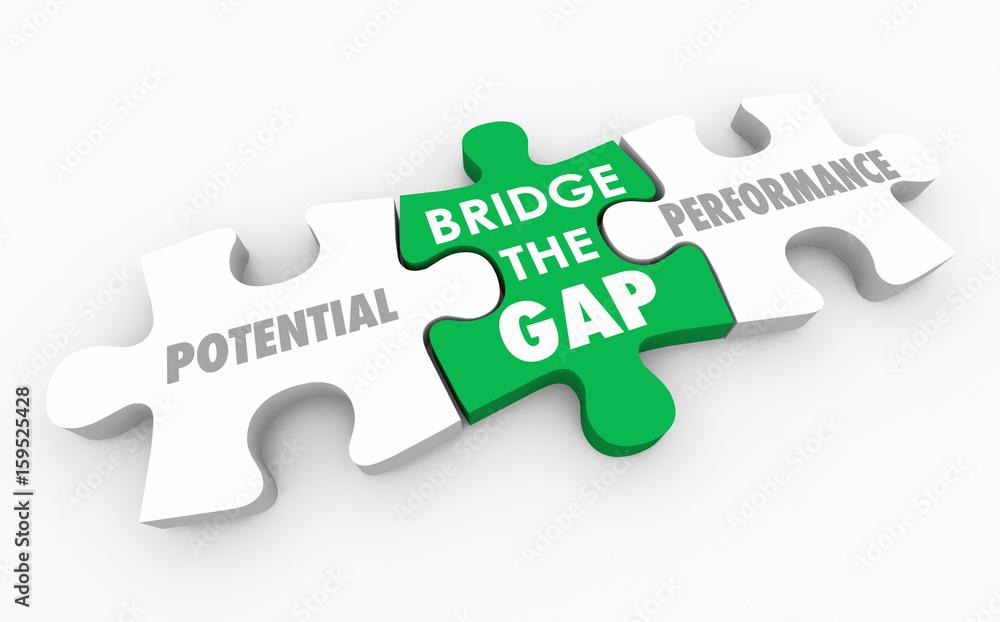 Fototapeta Bridge the Gap Between Potential and Performance Puzzle 3d Illustration