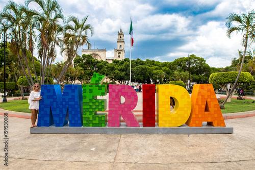 Fototapeta place principale de Merida au Mexique