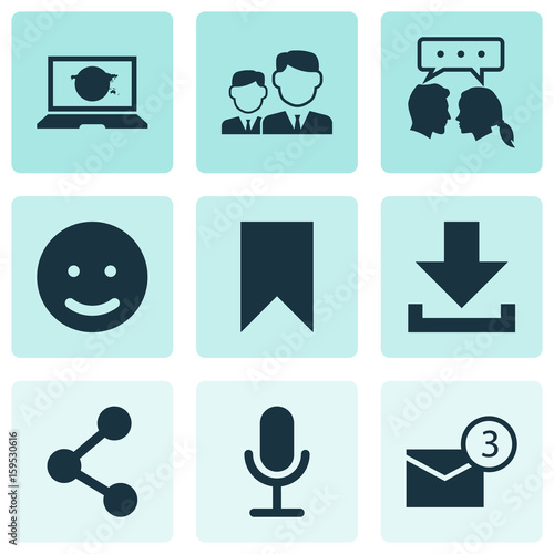 Internet Icons Set. Collection Of Smile, Conversation, Inbox And Other Elements. Also Includes Symbols Such As Mail, Flag, Download. Wall mural