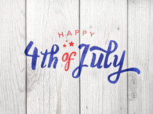 Happy 4th Of July Typography Over Distressed Wood Background