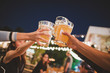 canvas print picture - Cheers to the best friends,Group Of Friends Enjoying Evening Drinks,vintage style.