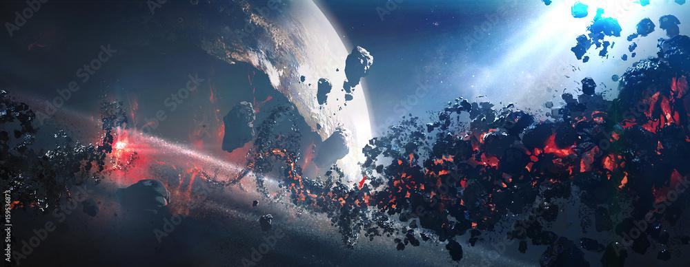 Fototapety, obrazy: World collapse, doomsday scene, digital painting.