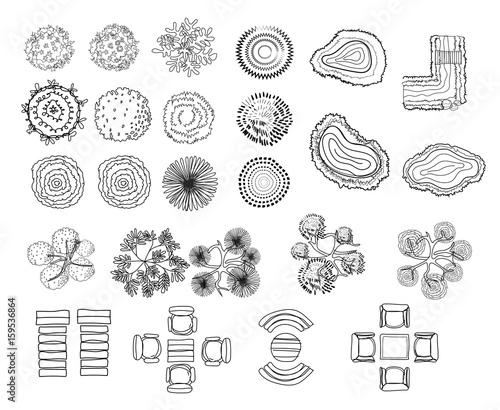 Set Of Tree Top Symbols For Architectural Or Landscape Design For