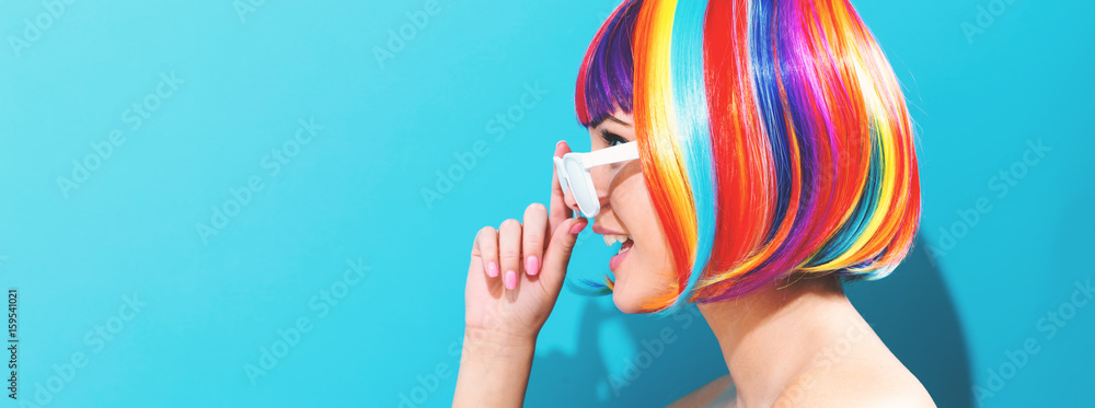 Fototapety, obrazy: Beautiful woman in a colorful wig