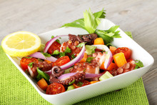 Fresh Octopus Salad With Tomato And Onion