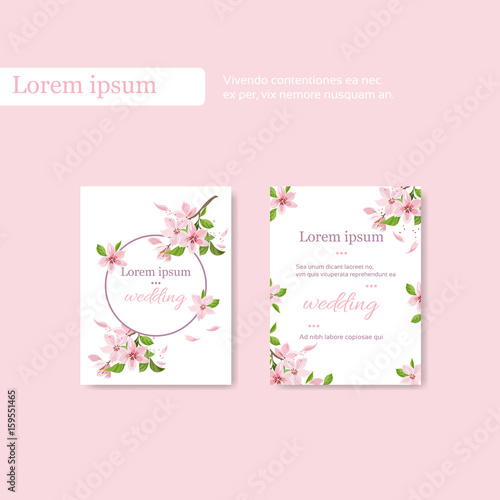 Vintage wedding card template with cherry blossom branch, place for ...