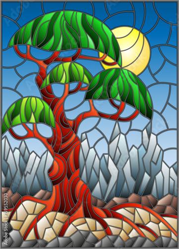 ilustracja-w-witrazu-stylu-z-zielonym-abstrakcjonistycznym-drzewem-na-tle-niebo