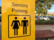 Senior Parking Sign In A Public Parking Lot
