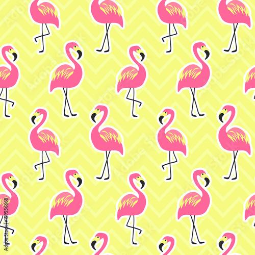 Fotobehang Pop Art Beautiful seamless pattern with flamingo