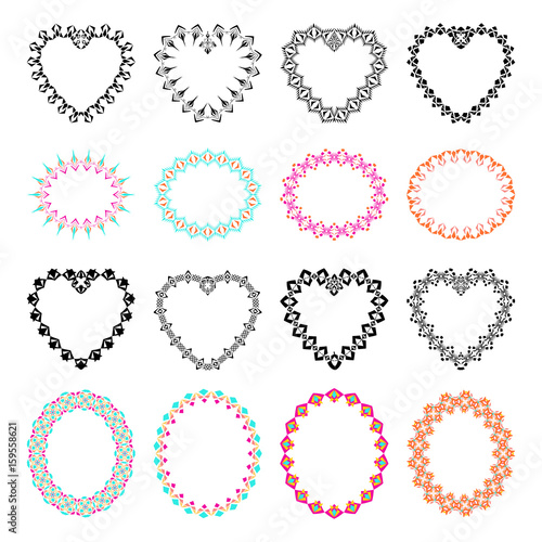 e767a61f2e Vector set of tribal colorful and black oval and heart shaped decorative  frames for design. Aztec ornamental style