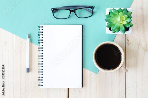 Fotografía  Still life, business, office supplies or education concept : Top view image of o