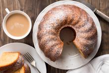 Sponge Cake With Coffee With Milk