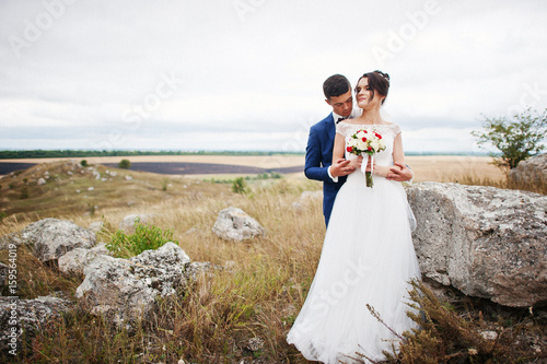 Fotografie, Obraz  Fantastic wedding couple walking in the tall grass with the pine trees and rocks in the background holding hands