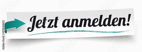 Cuadros en Lienzo Jetzt Anmelden! Papierzettel mit grünem Pfeil