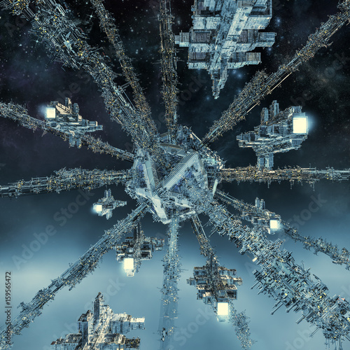 Photo  Space dock rendezvous / 3D illustration of spaceship fleet approaching space sta