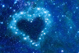 Bright stars in a night sky arranged in the shape of a heart, romantic magic night, love  and Valentines day card - Part of this image is furnished by NASA
