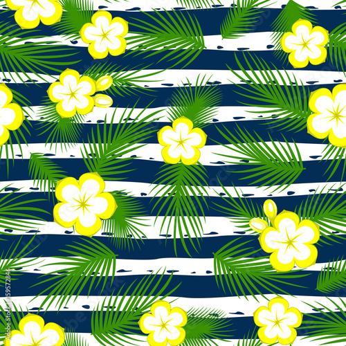 bezszwowi-deseniowi-tropikalni-kwiaty-i-liscie-z-paskiem