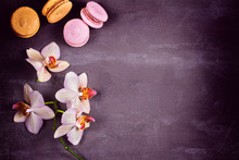 Orchids And Cake Macaron Or Macaroon On Gray Background From Above. Flat Lay, Top View. Flower And Cookie Still Life. Soft Pink Toning, Copy Space