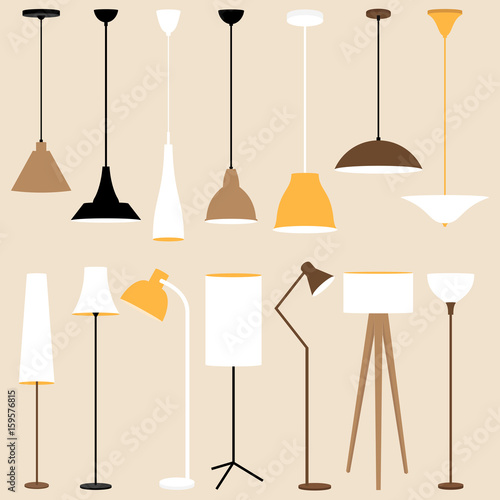 Vector set of lamps. Floor and celling lamps Poster Mural XXL