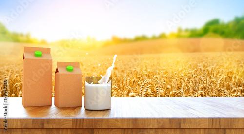 Plakat 3d rendering puszki mleko i kartonu pudełko mleko i szkło mleko na drewnianym stole na śródpolnym tle