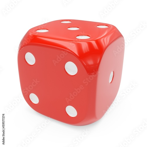 3d rendering red dice isolated on white background плакат