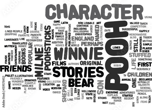 WINNIE THE POOH CHARACTER TEXT WORD CLOUD CONCEPT Wallpaper Mural
