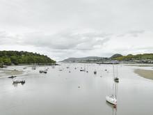 Yachts In Caernarfon Harbor, Menai Strait Gwynned, Wales
