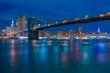 Brooklyn Bridge and Night Embankment of Manhattan