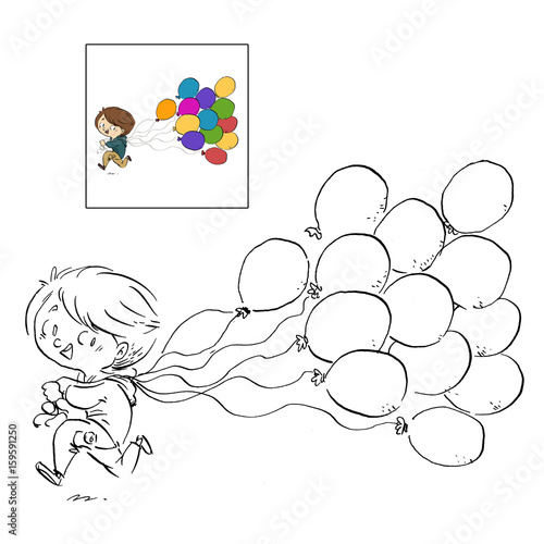 Niño Con Globos Dibujo Para Colorear Kaufen Sie Diese Illustration