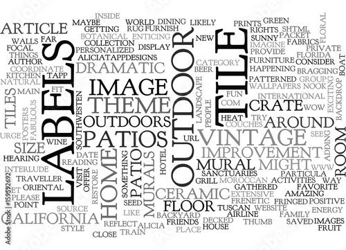 Photo WOW OUTDOOR TILES ANY IMAGE ANY SIZE TEXT WORD CLOUD CONCEPT
